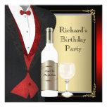 Vermelho e preto envelhecidos à festa de aniversár convites