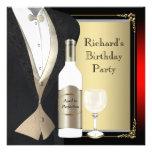 Vermelho e preto envelhecidos à festa de aniversár convites personalizado