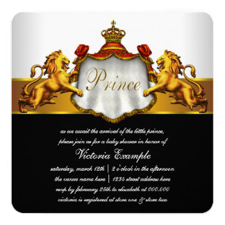 Vermelho e príncipe chá de fraldas do ouro convite quadrado 13.35 x 13.35cm