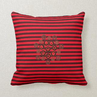 Vermelho e travesseiro quadrado listrado Borgonha Almofada