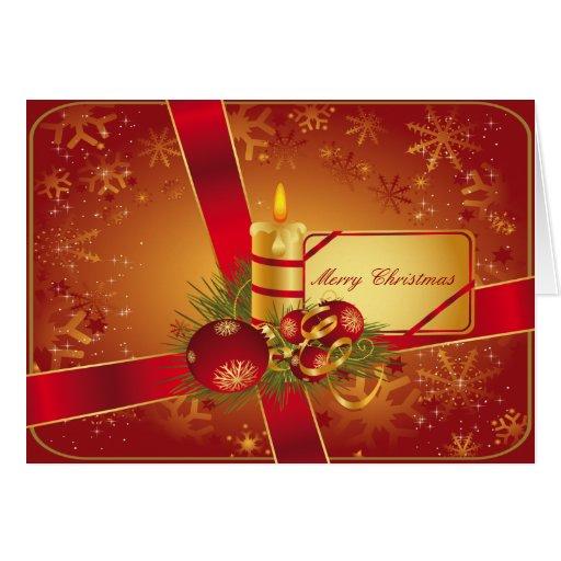 Vermelho e vela do feriado do ouro cartão