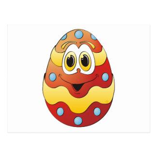 Vermelho engraçado do ovo da páscoa cartão postal