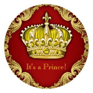 Vermelho extravagante do príncipe chá de fraldas convite personalizados