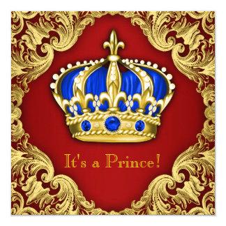 Vermelho extravagante do príncipe chá de fraldas convite quadrado 13.35 x 13.35cm