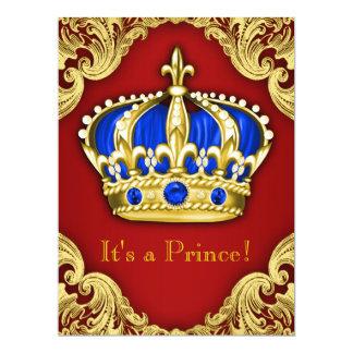Vermelho extravagante do príncipe chá de fraldas convite personalizado