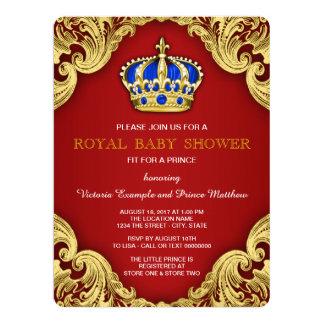 Vermelho extravagante do príncipe chá de fraldas convite 16.51 x 22.22cm