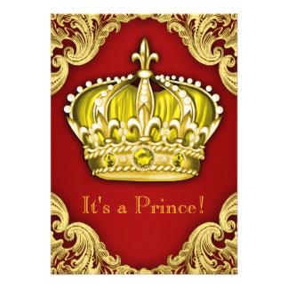 Vermelho extravagante do príncipe chá de fraldas convite