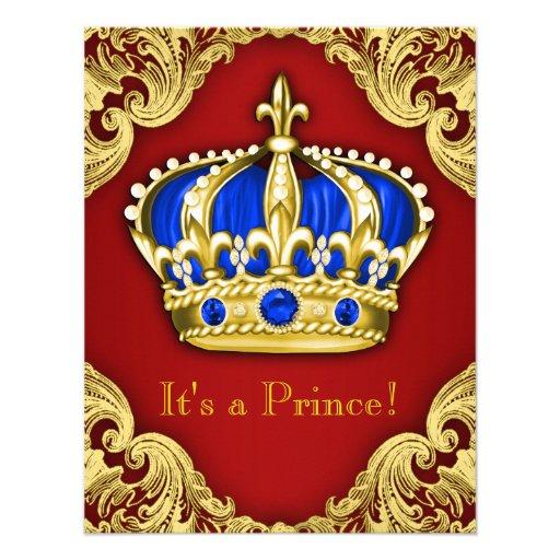 Vermelho extravagante do príncipe chá de fraldas convites personalizados