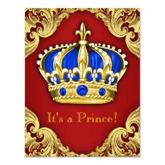 Vermelho extravagante do príncipe chá de fraldas convite 10.79 x 13.97cm