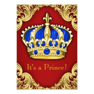Vermelho extravagante do príncipe chá de fraldas convite 12.7 x 17.78cm