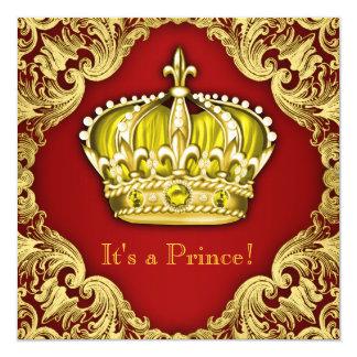 Vermelho extravagante do príncipe chá de fraldas convites personalizado