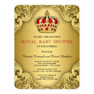 Vermelho extravagante e ouro do príncipe chá de convite 10.79 x 13.97cm