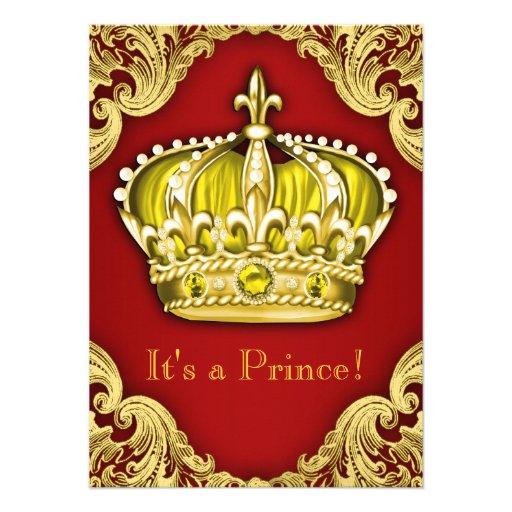 Vermelho extravagante e ouro do príncipe chá de convite personalizados