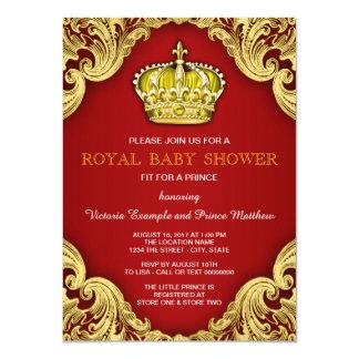 Vermelho extravagante e ouro do príncipe chá de convite 11.30 x 15.87cm