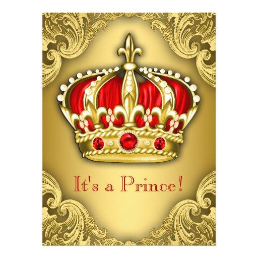 Vermelho extravagante e ouro do príncipe chá de convites personalizados