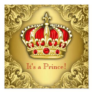 Vermelho extravagante e ouro do príncipe chá de convites personalizado