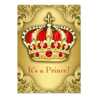 Vermelho extravagante e ouro do príncipe chá de convite 12.7 x 17.78cm