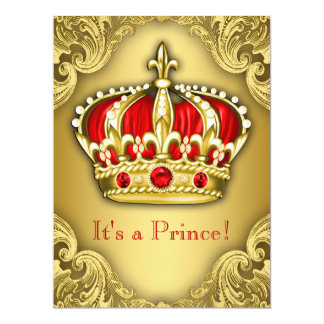 Vermelho extravagante e ouro do príncipe chá de convite 16.51 x 22.22cm
