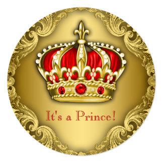 Vermelho extravagante e ouro do príncipe chá de convite quadrado 13.35 x 13.35cm