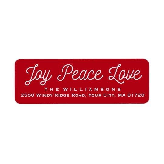 Vermelho feito sob encomenda do amor da paz da etiqueta endereço de retorno