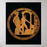 Vermelho-figura copo que descreve Athena, Theseus Impressão
