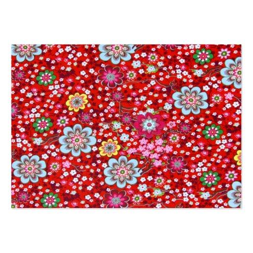 vermelho floral do fundo do em do padrão modelo cartão de visita