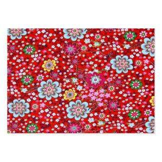 vermelho floral do fundo do em do padrão cartão de visita grande