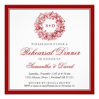 Vermelho floral do monograma do vintage do jantar
