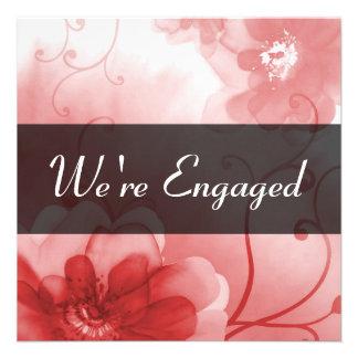 Vermelho formal e a cinza florescem a festa de noi convite personalizado