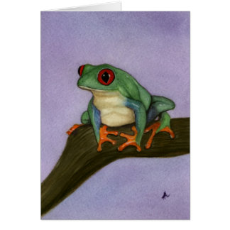 Vermelho gordo cartão Eyed do sapo de árvore