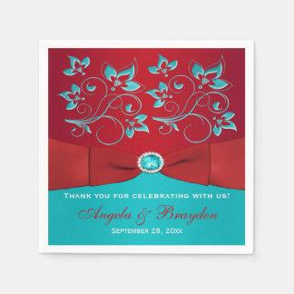 Vermelho, guardanapo de papel florais de turquesa