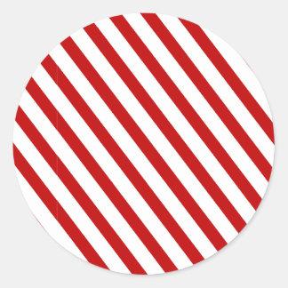 Vermelho listrado adesivo redondo