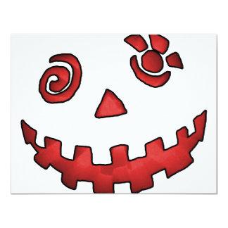 Vermelho louco da cara da abóbora da lanterna de convite 10.79 x 13.97cm