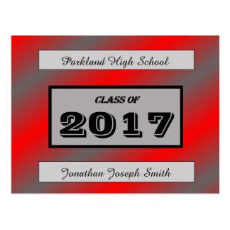 Vermelho/luz - cartão cinzento da graduação