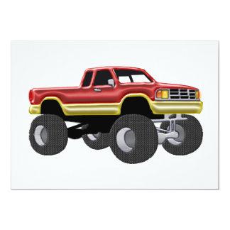 Vermelho maravilhoso & ouro do monster truck convite personalizado