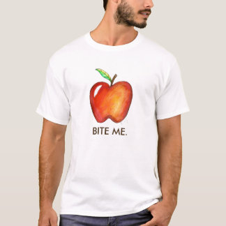 Vermelho morda-me camiseta da fruta do