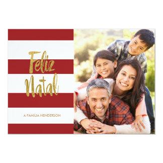 Vermelho natal de Feliz & listras do ouro Convite 12.7 X 17.78cm