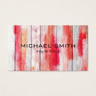 Vermelho Pastel na madeira #2 Cartão De Visitas