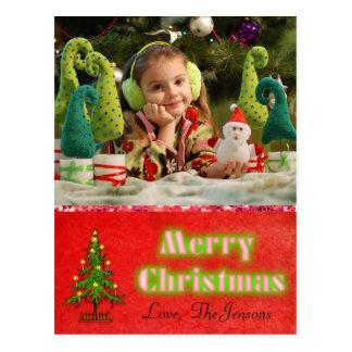 Vermelho personalizado cartão da árvore de Natal