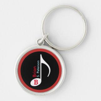 vermelho personalizado da nota musical chaveiro