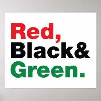 Vermelho, preto & verde impressão