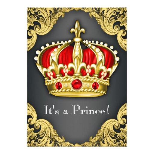 Vermelho régio do príncipe chá de fraldas convites personalizado