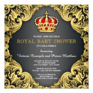 Vermelho régio do príncipe chá de fraldas convite quadrado 13.35 x 13.35cm