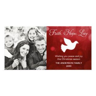 Vermelho religioso da pomba do Natal do amor da es Cartão Com Foto