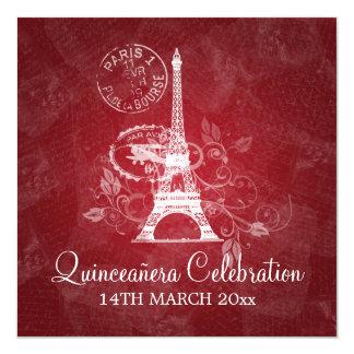 Vermelho romântico de Paris do partido da Convite Quadrado 13.35 X 13.35cm