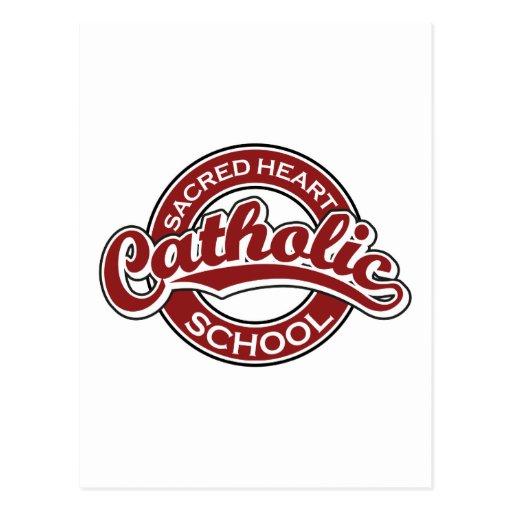 Vermelho sagrado da escola católica do coração cartão postal