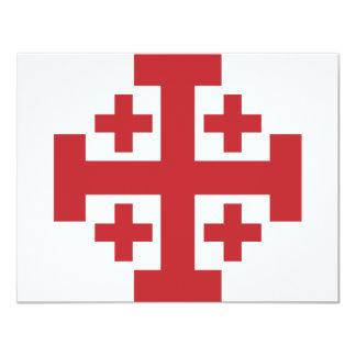 Vermelho simples da cruz de Jerusalem Convite Personalizado