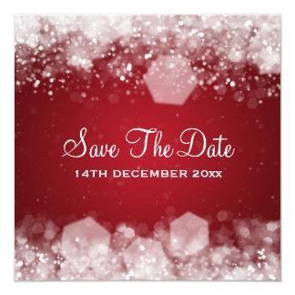 Vermelho Sparkling da noite do casamento no Convite Quadrado 13.35 X 13.35cm
