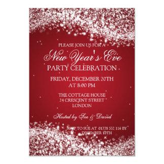 Vermelho Sparkling da onda da véspera de ano novo Convites Personalizado