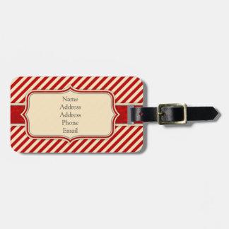 Vermelho & Tag da bagagem do monograma de Crème Etiqueta De Mala